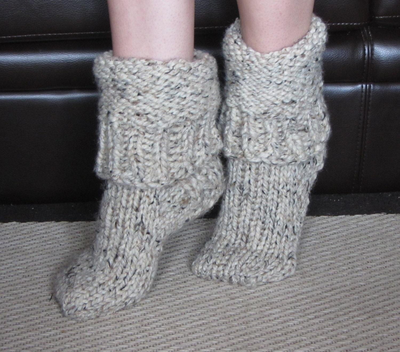 Knitting Pattern Thick Wool Socks : Chunky Wool Slipper Socks size medium US 7-8