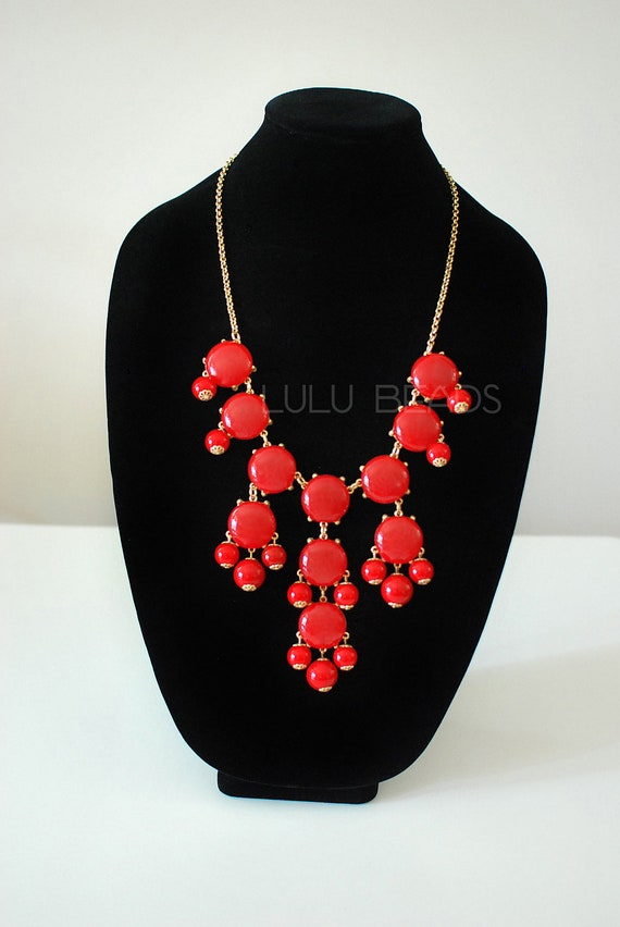 Red Bubble Necklace - Statement Necklace - JCrew Inspired