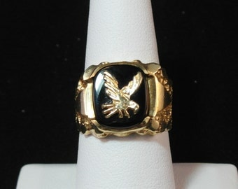 Solid 14k Gold Eagle Ring With Onyx