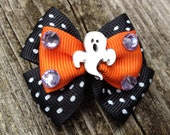 HALLOWEEN Ribbon hair bow french clip barrette for Girl Puppy Dog Pet (Ghost)