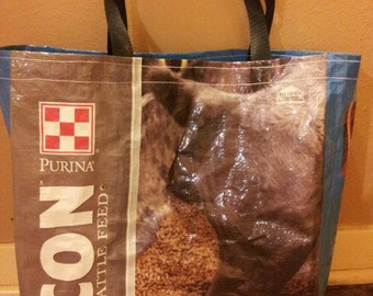 Recycled Feed Bag Tote, reusable tote bag, grocery tote, recycled shopping bags, reusable grocery bag, recycle tote bags  Purina Blue Cattle