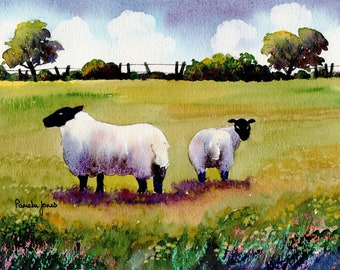 Watercolour Print, Sheep, in Welsh Meadow, 8ins x 6ins, Gift Idea, Art And Collectables, Home and Living