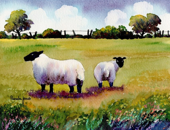 Watercolour Print, Sheep in Welsh Meadow, 8ins x 6ins, Gift, Art And Collectables