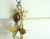 Upcycled Vintage Deer Charm Necklace, Aqua, Brown and Ivory Accent Beads
