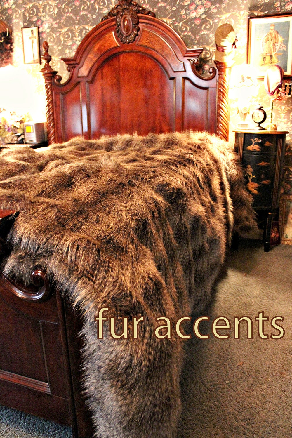 King Queen Plush Thick Striped Raccoon Fur Bedspread By