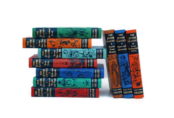 Vintage Children's Books SALE, The Junior Classics 1954 Printing, Rainbow Colors