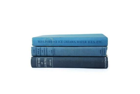 Vintage Cookbook Set, Blue, 1913,1915,1924, Vintage Book, Decorative Books