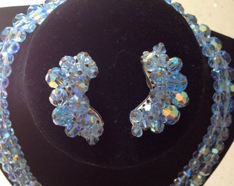 VINTAGE CIRCA 1950 Crystal Blue Iridescent Two Strand Necklace and Clip Earring Set