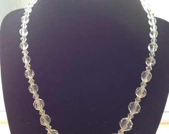 VINTAGE CIRCA 1930 Art Deco Cut Lead Crystal Beads on Sterling Silver Chain with Filagree Clasp