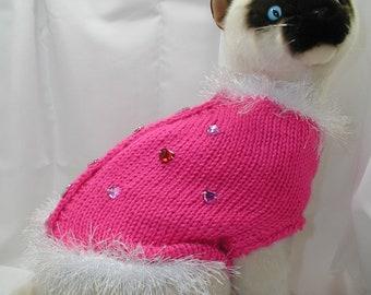 Knitting Pattern Cat Sweater : Hand Knit Cat Sweater Pattern by HandCraftedbyAnne Etsy