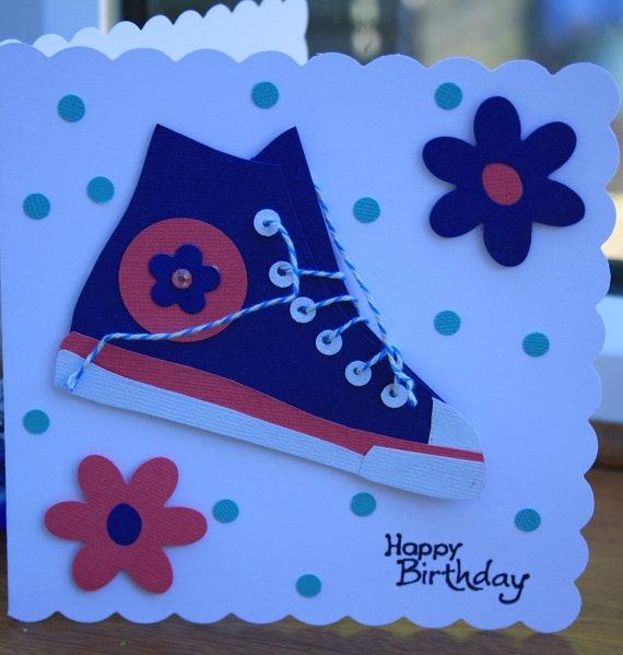 Converse Style  Boot Birthday Card, Baseball boot, Trendy.