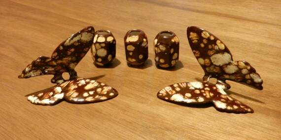 Butterfly Macrame Beads Mottled Glaze Matching Barrels - Lot of 5