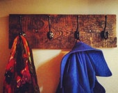 Aged Barn Wood Coat Rack with 4 Hooks, Great Christmas Gift, Distressed Wood