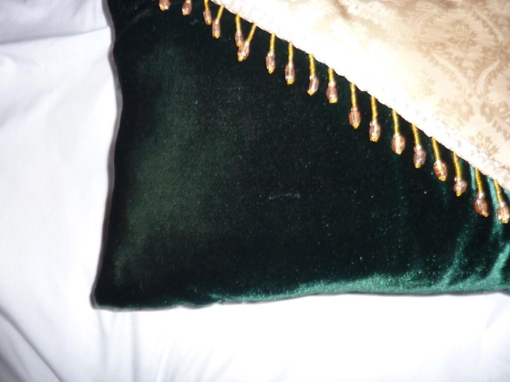 dark green velvet decorative pillow 12x16 jewel tone. Black Bedroom Furniture Sets. Home Design Ideas