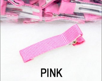 12pcs Partially Lined Double Prong Alligator Clips Grosgrain covered Hair Accessories Hair clips Annielov - Pink