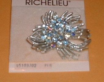 Richelieu Ice Blue Glittering Rhinestone Silver Spider or Starburst Pin or Brooch Jewelry on original card new never used