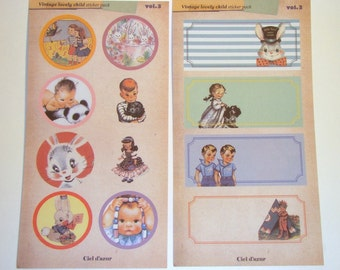 Kitsch Stickers Cute Retro Style Scrapbooking Children & Animals Whimsical 10 Sheets Vol. 3