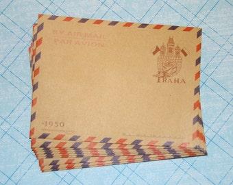 10 Mini Kraft Envelopes - Vintage Style Czech Republic Prague Par Avion Stationery Party Favors