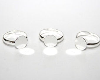 5 Piece ring blanks, silver plate 10 mm R008