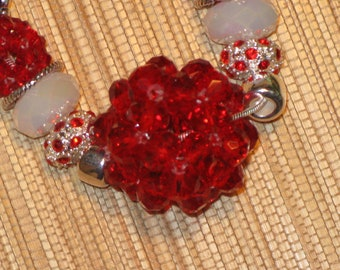 Red White Large Hole European Style Necklace