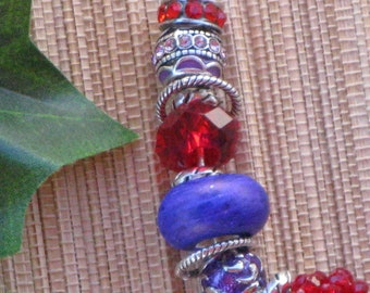 Red and Purple Large Hole European Style Necklace