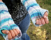 Long Cabled Armwarmers Fingerless Gloves - Purple-Teal-White Striped
