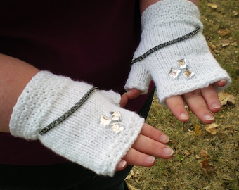 Fingerless Gloves Chain Jewel Embellished White