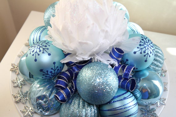 Unique Holiday Centerpiece : Christmas centerpiece white blue and by glitterglassandsass