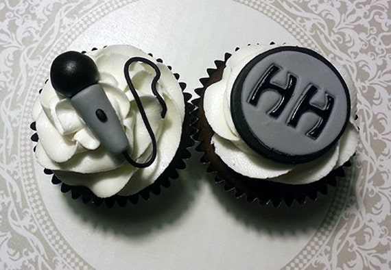 Items similar to 12 Microphone and Initial Cupcake Toppers ...