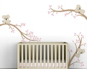 Pink Girls Decal Wall Decor Baby Girl Room Tree Wall Decal - Koala Tree Branches by LittleLion Studio