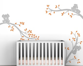 Kids Tree Wall Decal Baby Room Gray Tree Wall Decals Room Decor - Koala Tree Branches by LittleLion Studio