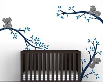 Kids Wall Decal Blue Wall Tree Sticker Baby Room Decor - Koala Tree Branches by LittleLion Studio