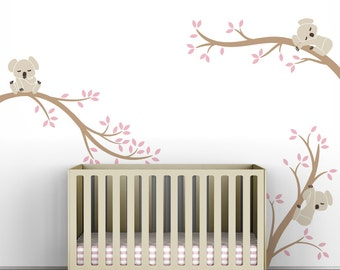 Kids wall decals white tree decals gray and white koala tree for Collant mural hibou