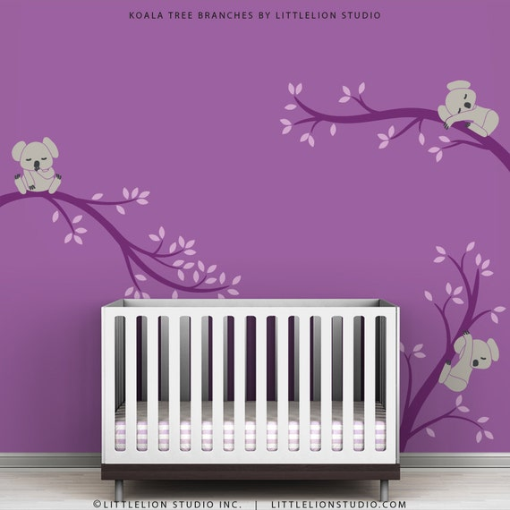 Items similar to baby wall decal violet wall sticker baby - Stickers arbre chambre fille ...