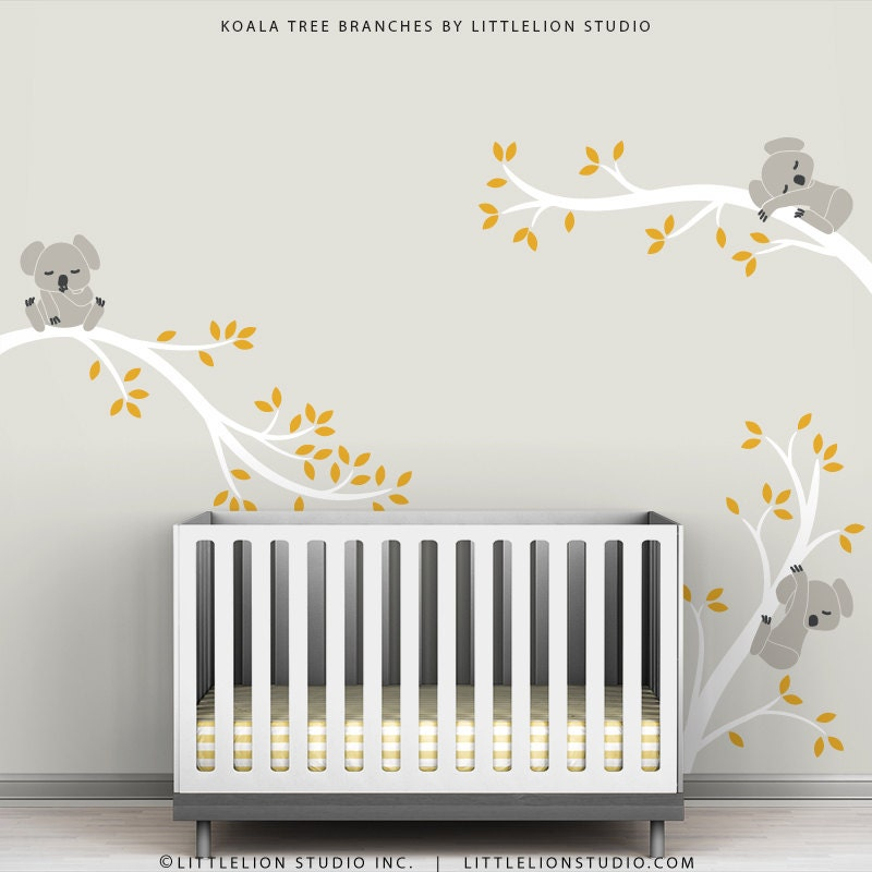 Kids Wall Decals Gray White and Dark Yellow Baby by TheKoalaStore