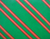 Vintage Christmas Gift Wrapping Paper - Red, Green and Gold Christmas Tie Stripe - 1 Unused Full Sheet Striped Paper - Christmas Gift Wrap