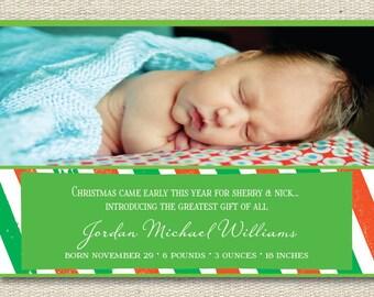 "Custom Photo Christmas Card/Baby Announcement - ""Greatest Gift"""