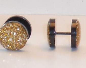 Gold Glitter Fake Plugs