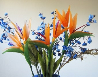 Nylon flower Bird of Paradise Arrangement  Pot not included