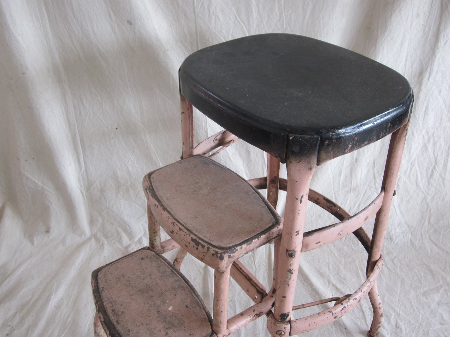 Vintage Cosco Metal Step Stool Ladder Pink Industrial Steel