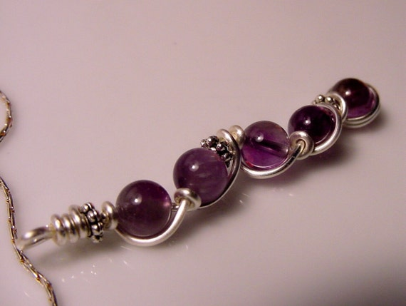 Third Eye Chakra Pendant Necklace, Amethyst,  Semi Precious Stones, Prosperity and Abundance