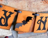 HAPPY HALLOWEEN banner garland decoration in rustic orange and black with spider webs and 3D bats - 3 sizes available - READY to ship