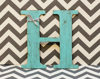Distressed Wooden Letter - ALL LETTERS AVAILABLE - Painted Letter