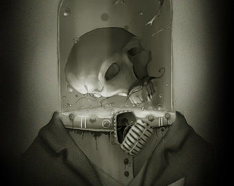 Steampunk Robot Zombie 8x10 Halloween Art Print