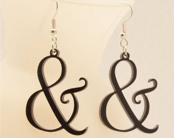 Laser Cut Ampersand Earrings - Earrings for Niece, Gift for Niece, Personalized Jewelry
