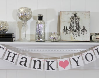 THANK YOU BANNER - Wedding Banner Photo Prop - Wedding Sign - Wedding Decoration - Charcoal