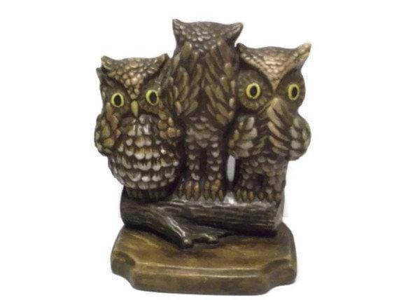 See No Evil Hear No Evil And Speak No Evil Owl Ceramic