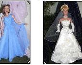 GINGER 16 Pattern for Tonner Tyler, Emme,Gene 15-16 inch dolls Evening or cocktail gown also fits Franklin Mint Dolls