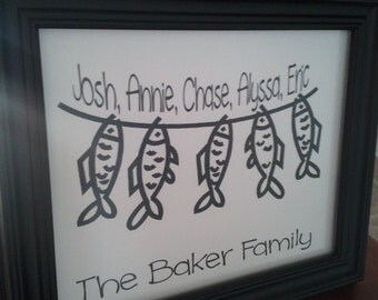 Personalized Fish Family Wall Decor great FATHERS DAY GIFT!!