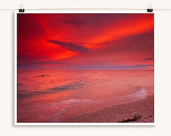Red Ocean Sunset - Island Beach Sunset Photography Collection - Decorative Wall Art - Red and Orange wall decor